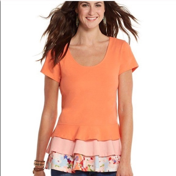 Matilda Jane Coral Weekend Womens Frill Floral Top